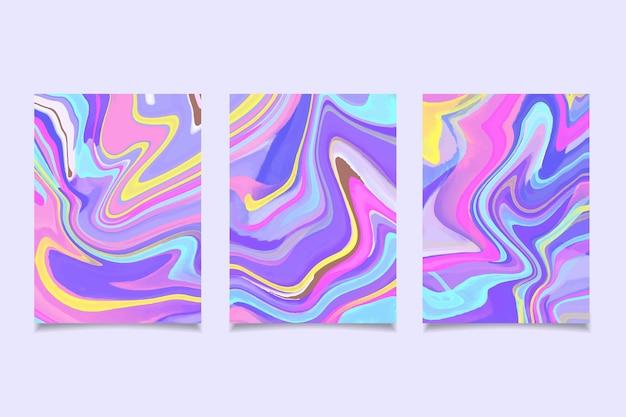 手描きの水彩液体大理石カバーコレクション