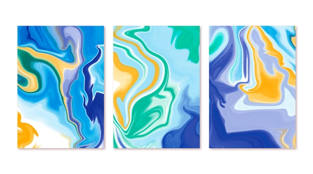 Hand painted watercolor liquid marble covers
