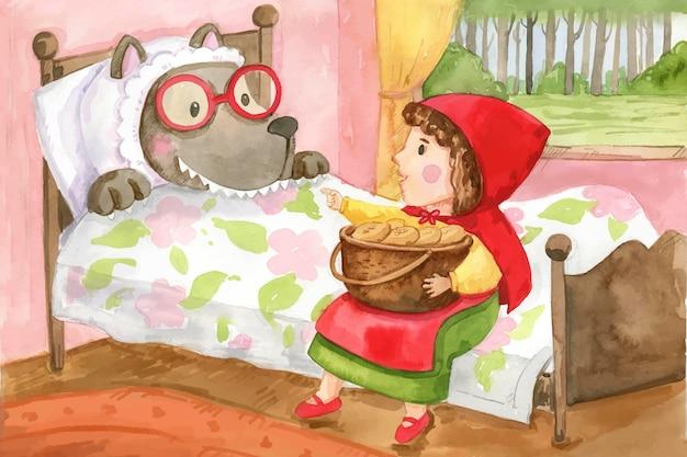 손으로 그린 수채화 작은 빨간 승마 후드 그림