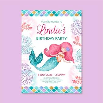 Hand painted watercolor mermaid birthday invitation template