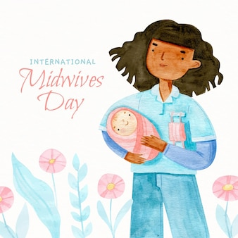 Hand painted watercolor midwives day illustration