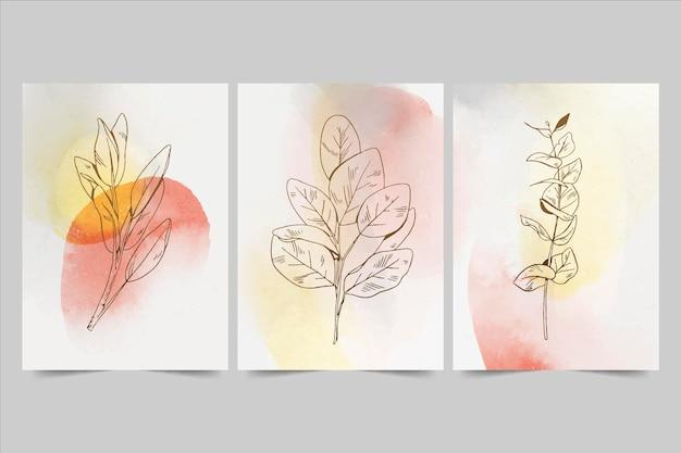 Collezione di copertine minime disegnate a mano ad acquerello dipinto a mano