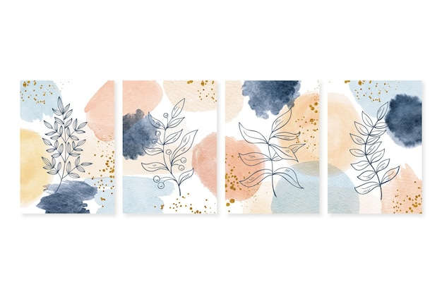 Hand painted watercolor minimal hand drawn covers