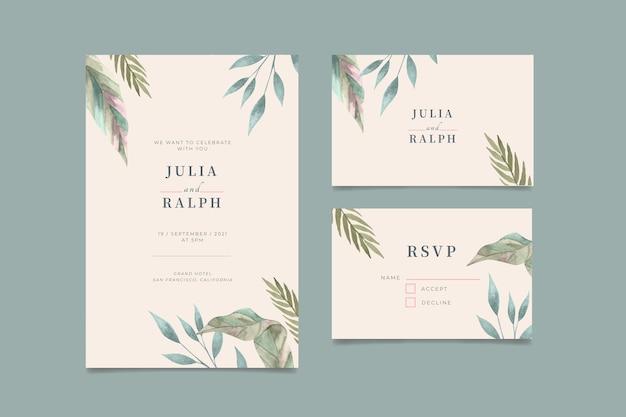 手描きの水彩画の最小限の結婚式の招待状のテンプレート