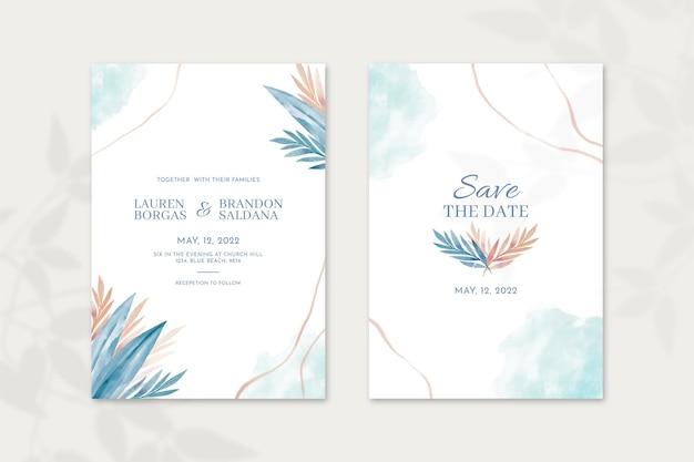 Ручная роспись акварелью минимальный шаблон свадебного приглашения