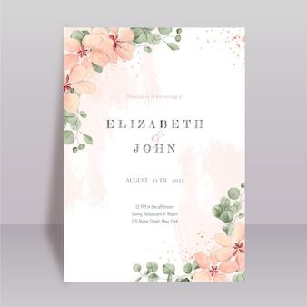 Hand painted watercolor minimal wedding invitation template