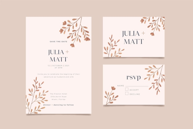 Hand painted watercolor minimalist wedding invitation template