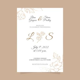 Modello di invito a nozze minimalista dell'acquerello dipinto a mano