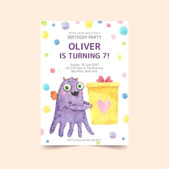 Modello dell'invito di compleanno dei mostri dell'acquerello dipinto a mano Vettore gratuito