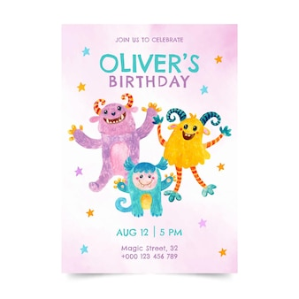 Hand painted watercolor monsters birthday invitation template
