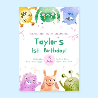 手描きの水彩モンスターの誕生日の招待状のテンプレート