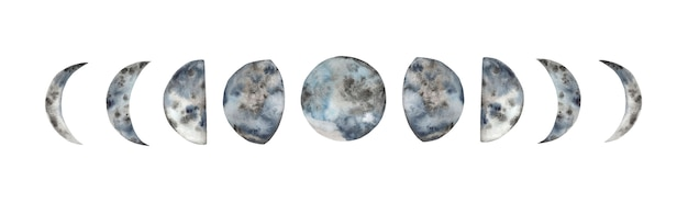 Hand painted watercolor moon phases.
