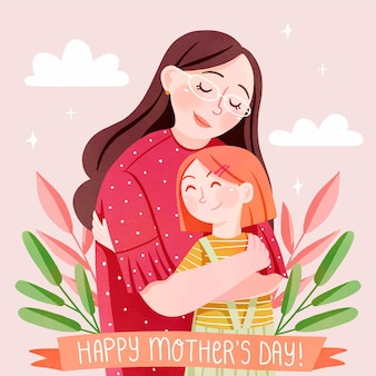 Hand painted watercolor mother's day illustration