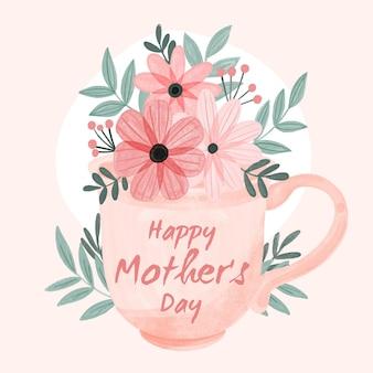 Ручная роспись акварелью день матери иллюстрации