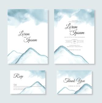 ミニマリストの結婚式のカードの招待状のテンプレートの手描き水彩山