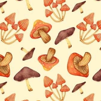 手描きの水彩キノコパターン