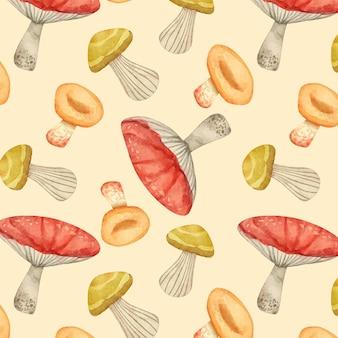 Ручная роспись акварель грибной узор