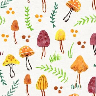 손으로 그린 수채화 버섯 패턴