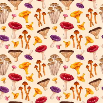 Hand painted watercolor mushroom pattern
