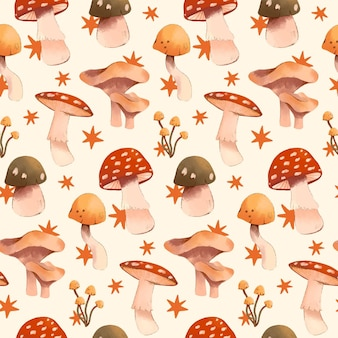 Hand painted watercolor mushroom pattern