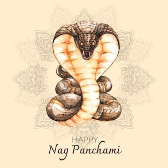 Hand painted watercolor nag panchami illustration