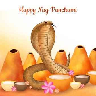 Illustrazione di panchami nag acquerello dipinto a mano