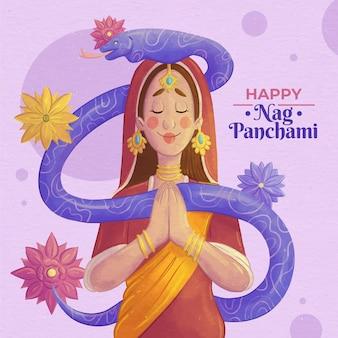 손으로 그린 수채화 nag panchami 그림