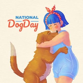 Illustrazione dipinta a mano del giorno del cane nazionale dell'acquerello