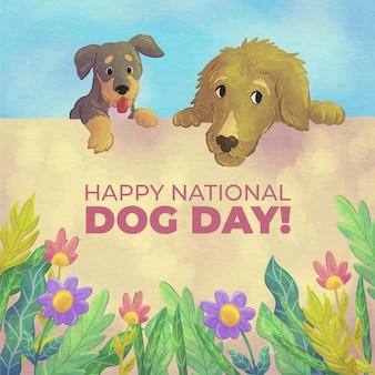 Ручная роспись акварель национальный день собаки иллюстрация