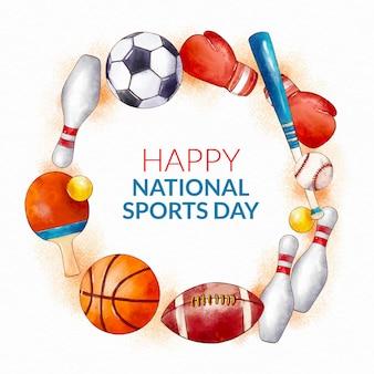 Illustrazione dipinta a mano della giornata sportiva nazionale dell'acquerello