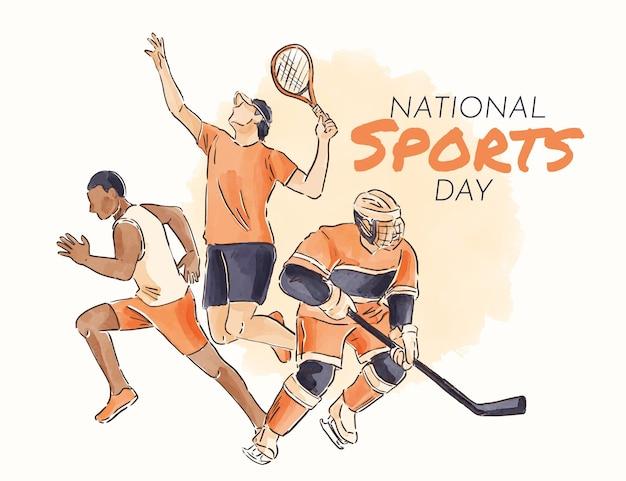 Ручная роспись акварелью национальный день спорта иллюстрация