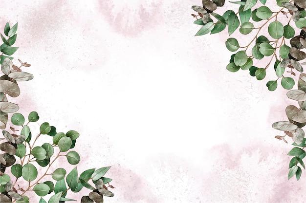 Hand painted watercolor nature background with empty space