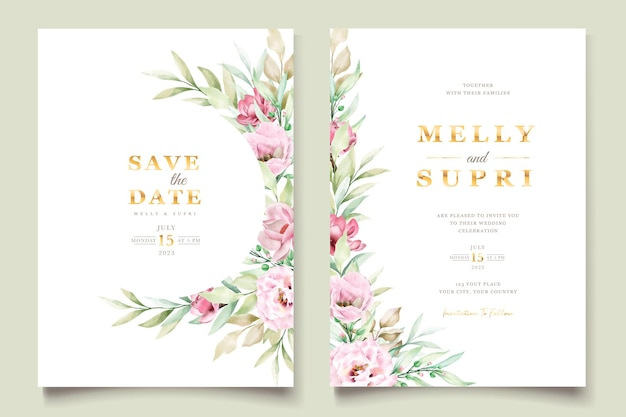 Hand painted watercolor nature invitation card