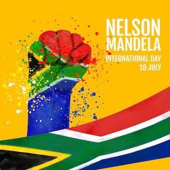손으로 그린 수채화 넬슨 만델라 국제 기념일 그림