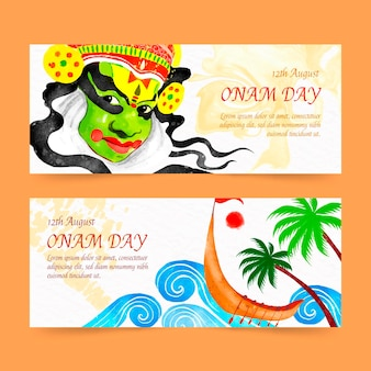 Hand painted watercolor onam banners set