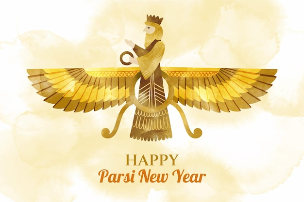 Hand painted watercolor parsi new year illustration
