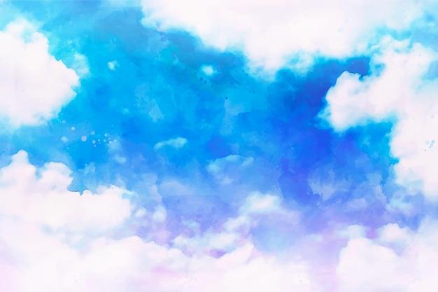 手描きの水彩パステル空の背景