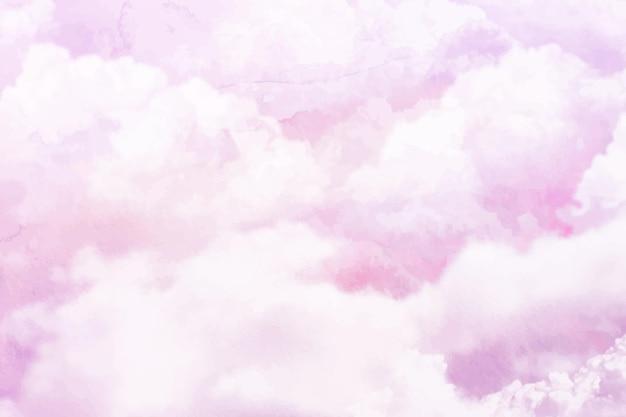 손으로 그린 수채화 파스텔 하늘 배경