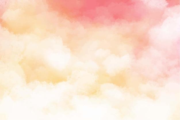 手描きの水彩パステル空雲の背景