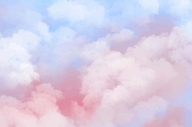 손으로 그린 수채화 파스텔 하늘 구름 배경