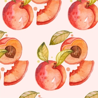 Hand painted watercolor peach pattern design