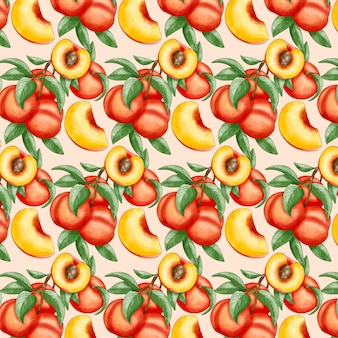손으로 그린 수채화 복숭아 패턴 디자인