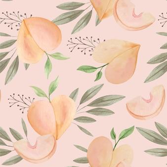 手描きの水彩桃のパターンデザイン 無料ベクター