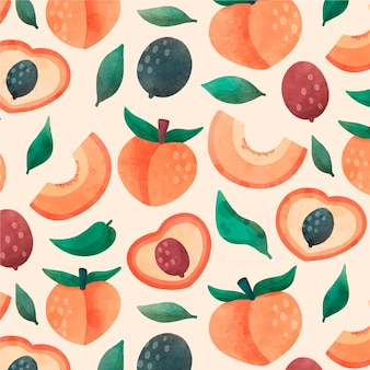 Hand painted watercolor peach pattern