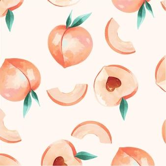 손으로 그린 수채화 복숭아 패턴