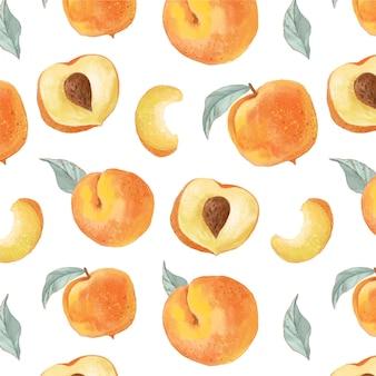 手描きの水彩桃のパターン
