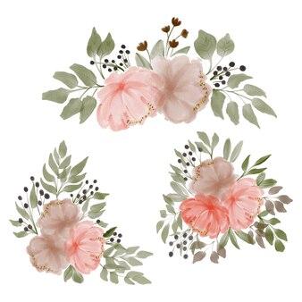 Ручная роспись акварель пионы букет цветов