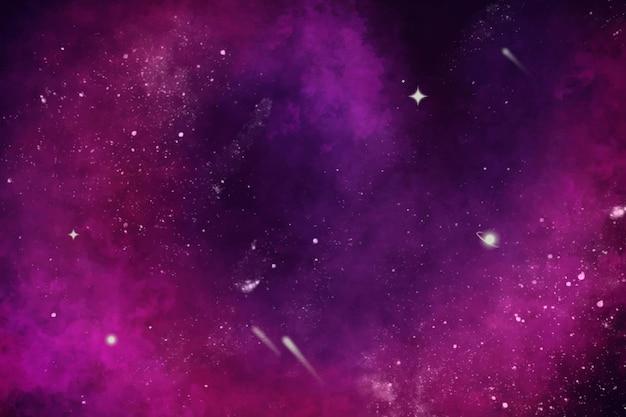 手描きの水彩ピンク銀河の背景