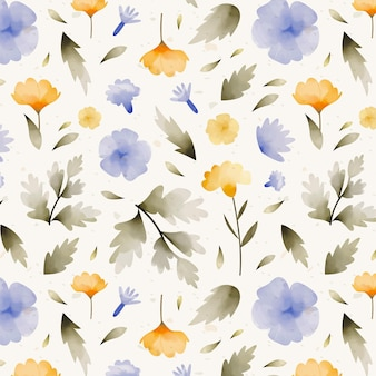 Modello di fiori pressati ad acquerello dipinto a mano