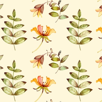Hand painted watercolor pressed flowers pattern